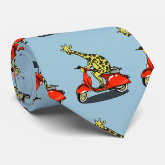 giraffe on a vintage scooter tie