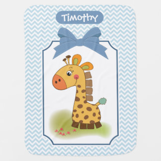 Giraffe on Chevron Baby Blanket
