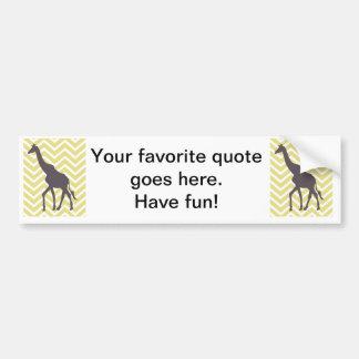 Giraffe on Chevron zigzag - Yellow and White Bumper Stickers