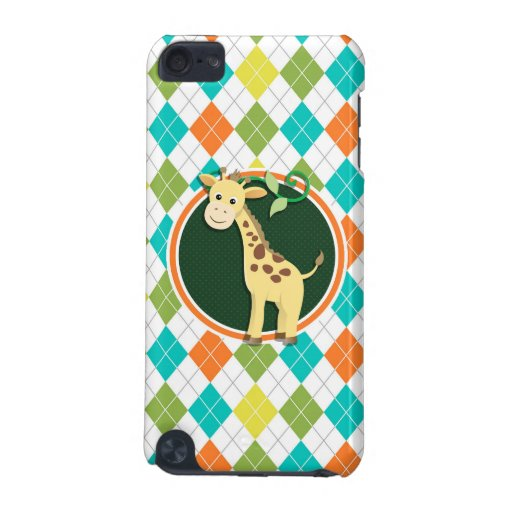 Giraffe on Colorful Argyle Pattern iPod Touch (5th Generation) Cases