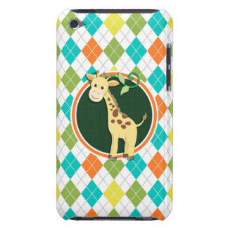 Giraffe on Colorful Argyle Pattern Barely There iPod Covers
