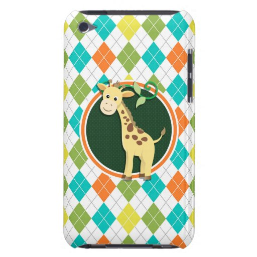 Giraffe on Colorful Argyle Pattern Case-Mate iPod Touch Case