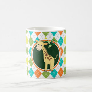 Giraffe on Colorful Argyle Pattern Coffee Mug