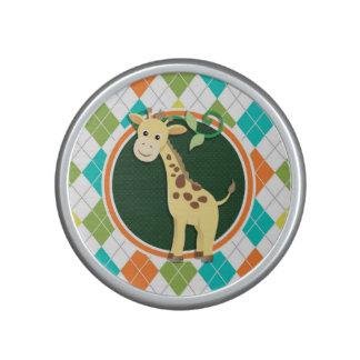 Giraffe on Colorful Argyle Pattern Bluetooth Speaker