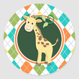 Giraffe on Colorful Argyle Pattern Stickers