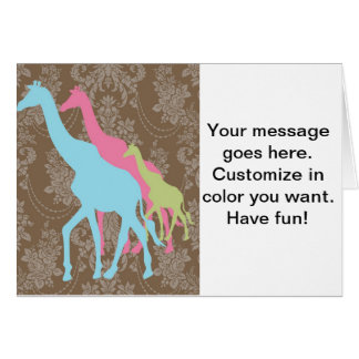 Giraffe on Damask Floral - Pink, Blue and Green Greeting Card