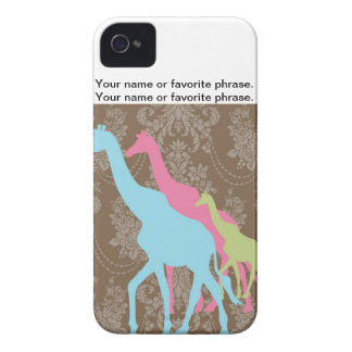 Giraffe on Damask Floral - Pink, Blue and Green iPhone 4 Covers