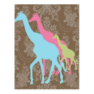 Giraffe on Damask Floral - Pink, Blue and Green Postcard