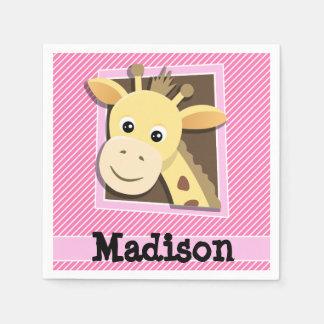 Giraffe on Pink & White Stripes Paper Napkins