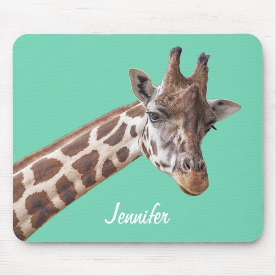 Giraffe on Teal Green Personalised Name Mouse Pad