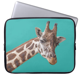 Giraffe on Teal Laptop Sleeve