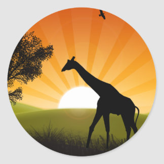 Giraffe On The Move Classic Round Sticker