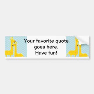 Giraffe on zigzag chevron - Pastel Blue Bumper Sticker