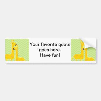 Giraffe on zigzag chevron pattern. bumper sticker