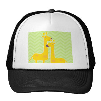 Giraffe on zigzag chevron pattern. cap