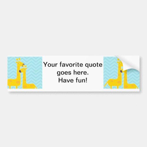 Giraffe on zigzag chevron pattern - Pastel Blue Bumper Stickers