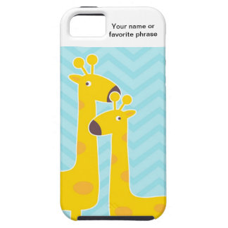 Giraffe on zigzag chevron pattern - Pastel Blue iPhone 5 Case