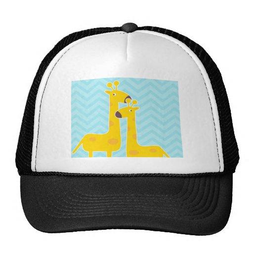 Giraffe on zigzag chevron pattern - Pastel Blue Trucker Hats