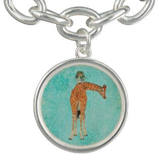 Giraffe & Owl  Blue Floral Charm Bracelet