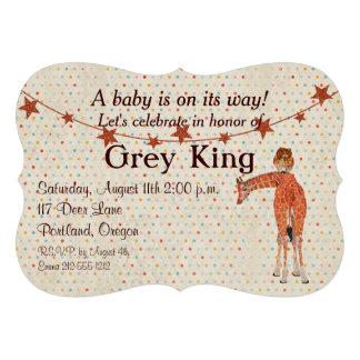 Giraffe Owl Polkadot Baby Invitation Invite