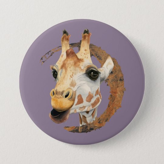 Giraffe Painting with Faux Gold Circle Frame 7.5 Cm Round Badge