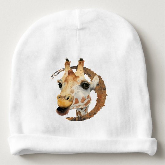 Giraffe Painting with Faux Gold Circle Frame Baby Beanie
