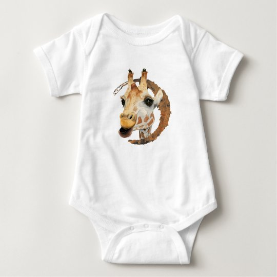 Giraffe Painting with Faux Gold Circle Frame Baby Bodysuit