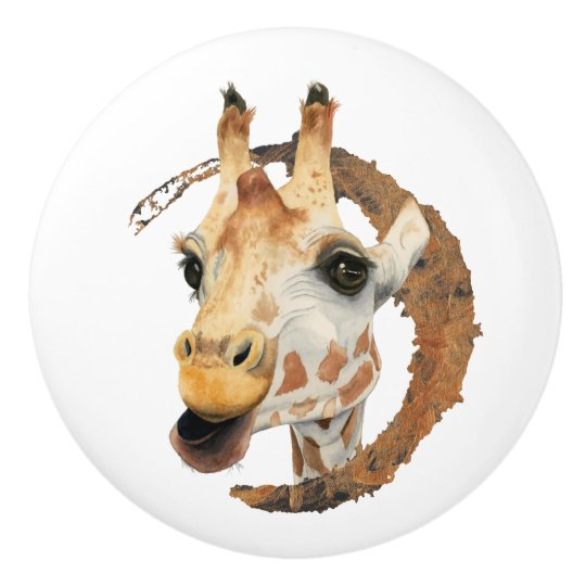Giraffe Painting with Faux Gold Circle Frame Ceramic Knob