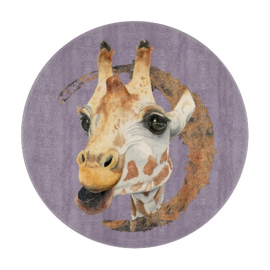 Giraffe Painting with Faux Gold Circle Frame Cutting Board
