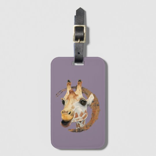 Giraffe Painting with Faux Gold Circle Frame Luggage Tag