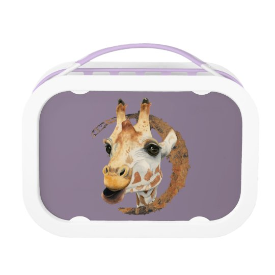Giraffe Painting with Faux Gold Circle Frame Lunch Box