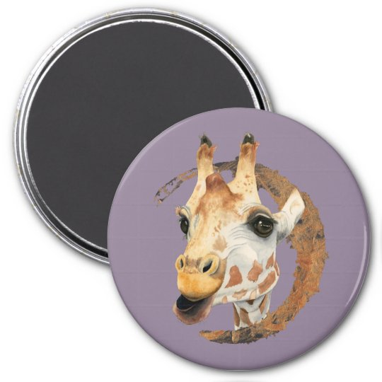 Giraffe Painting with Faux Gold Circle Frame Magnet