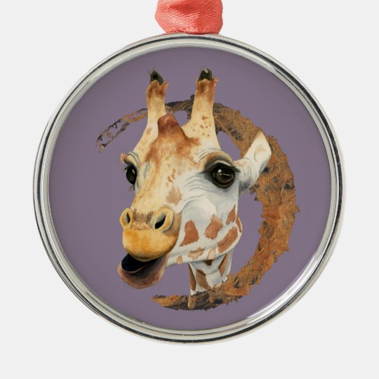 Giraffe Painting with Faux Gold Circle Frame Metal Ornament