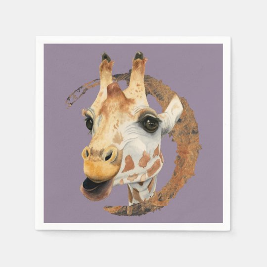 Giraffe Painting with Faux Gold Circle Frame Paper Napkin