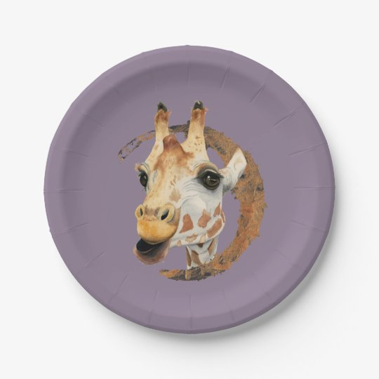 Giraffe Painting with Faux Gold Circle Frame Paper Plate