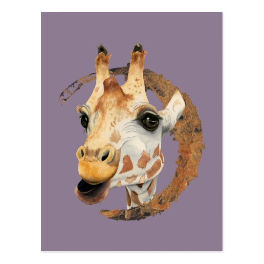 Giraffe Painting with Faux Gold Circle Frame Postcard