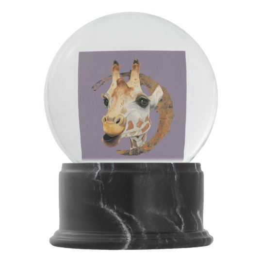 Giraffe Painting with Faux Gold Circle Frame Snow Globe
