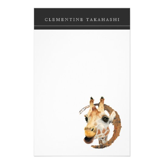 Giraffe Painting with Faux Gold Circle Frame Stationery