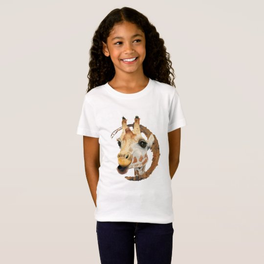 Giraffe Painting with Faux Gold Circle Frame T-Shirt