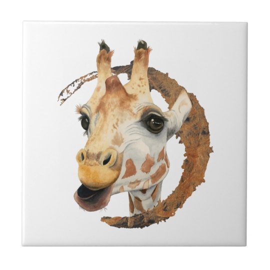 Giraffe Painting with Faux Gold Circle Frame Tile
