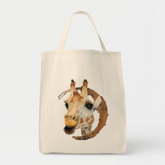 Giraffe Painting with Faux Gold Circle Frame Tote Bag