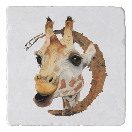 Giraffe Painting with Faux Gold Circle Frame Trivet