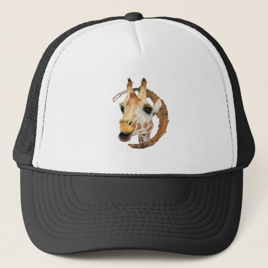 Giraffe Painting with Faux Gold Circle Frame Trucker Hat