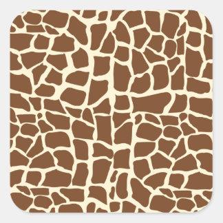 Giraffe pattern animal print square stickers