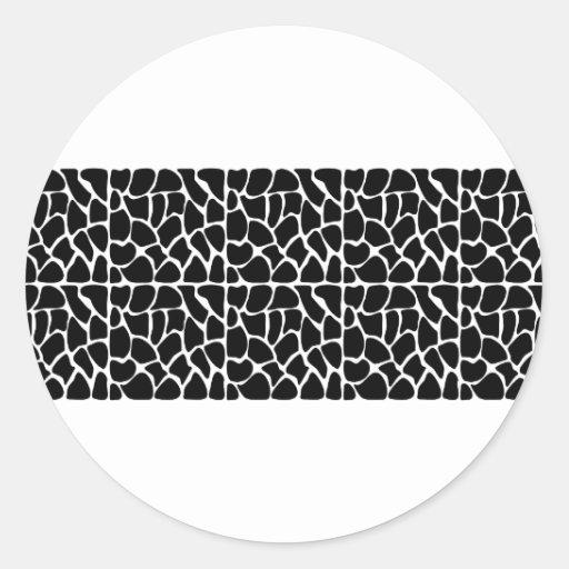 Giraffe Pattern Black & White Round Stickers