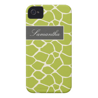 Giraffe Pattern BlackBerry Bold Case (lime)