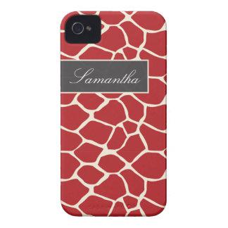 Giraffe Pattern BlackBerry Bold Case (red)