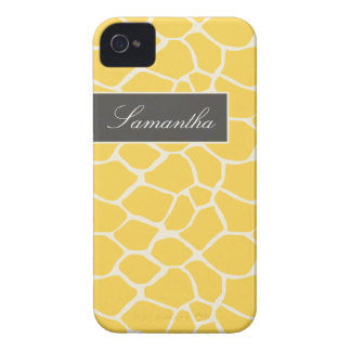 Giraffe Pattern BlackBerry Bold Case (yellow)