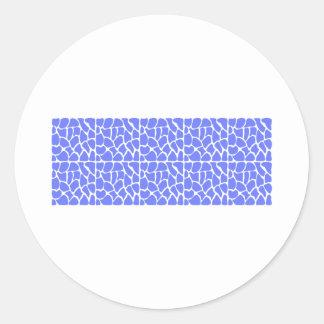 Giraffe Pattern Cornflower Blue Round Stickers