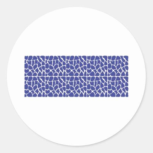 Giraffe Pattern. Dark Blue. Round Sticker